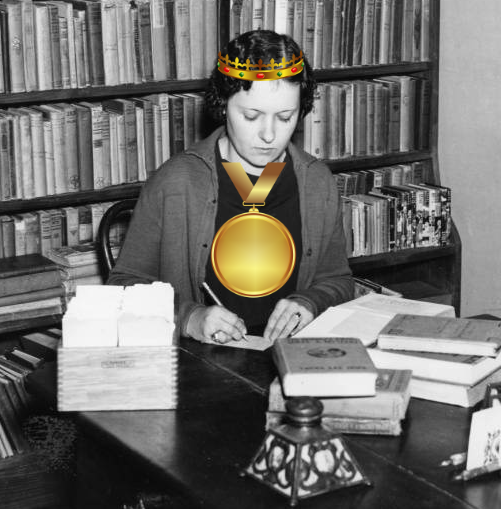 female librarian with gold medal and crown